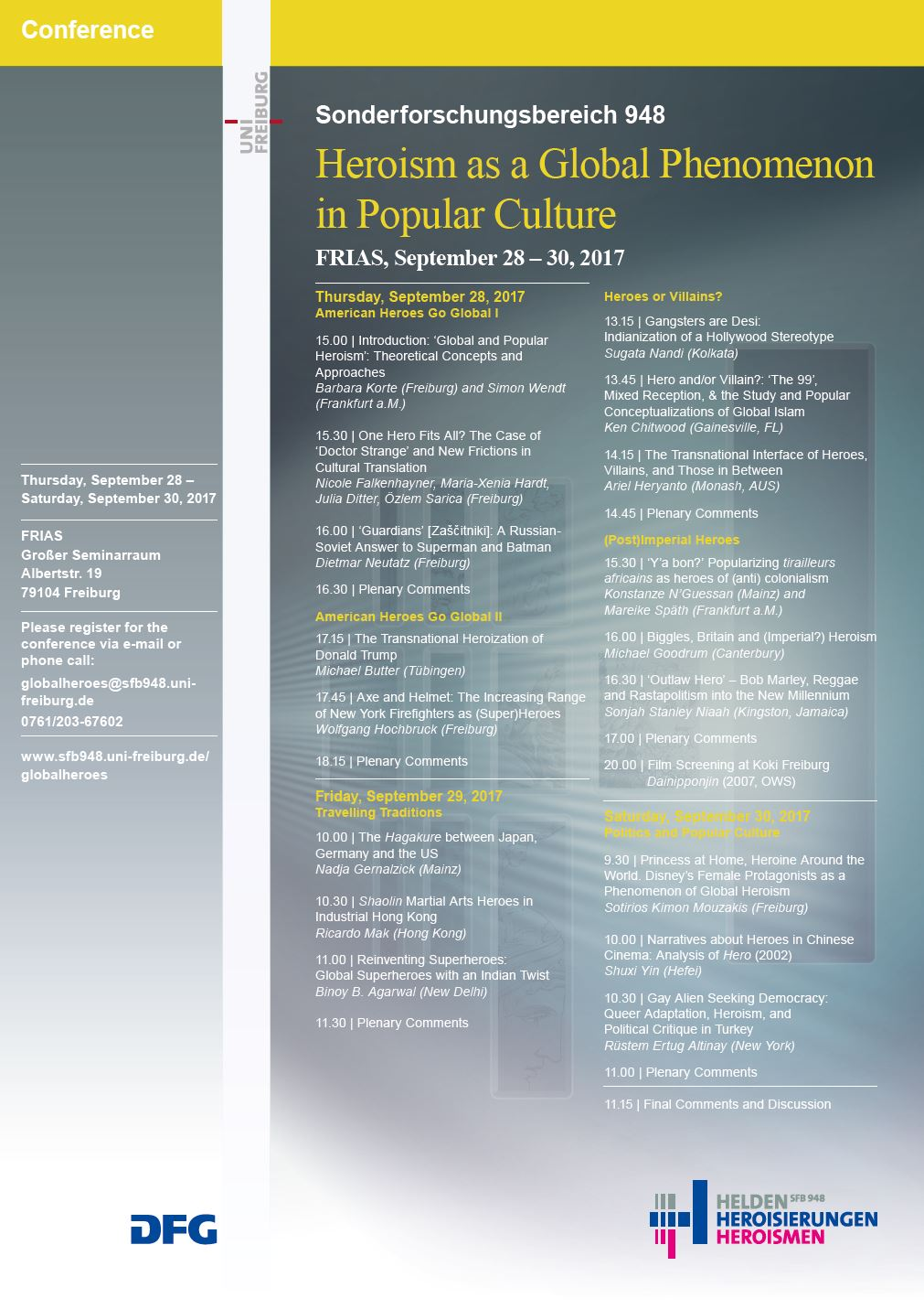 """Conference Program """"Heroism as a Global Phenomenon in Popular Culture"""""""