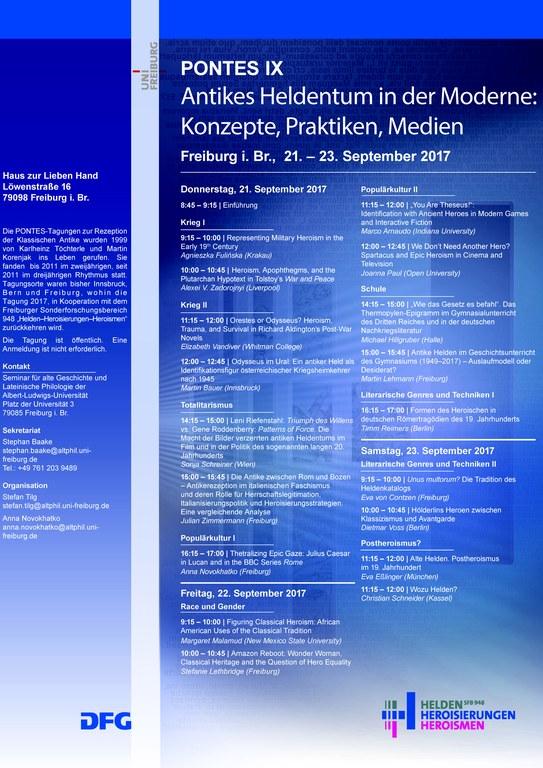 PONTES IX: Antikes Heldentum in der Moderne: Konzepte, Praktiken, Medien – Freiburg i. Br., 21.–23. September 2017