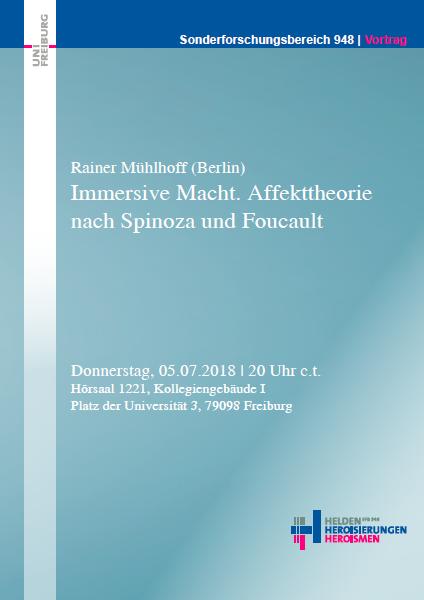 Vortag und Workshop: Rainer Mühlhoff (Berlin) Affekttheorie nach Spinoza und Foucault