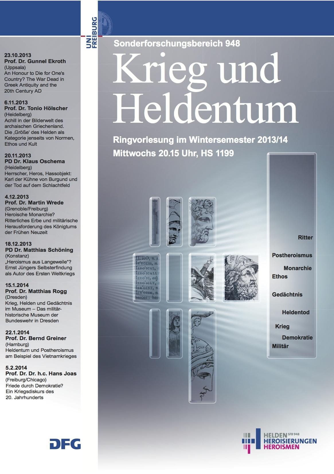 Plakat Ringvorlesung Krieg und Heldentum WS 13/14