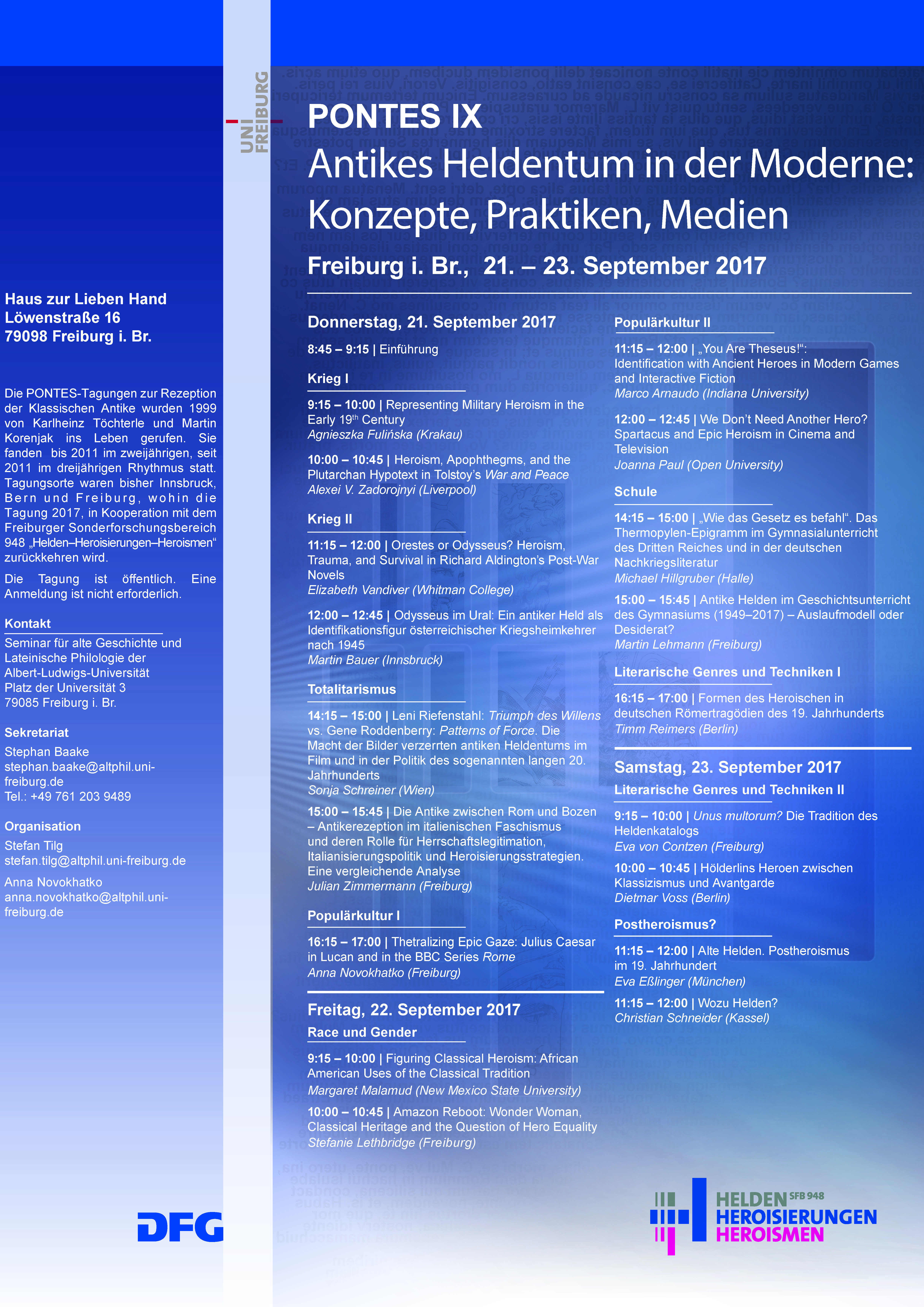 """PONTES IX """"Antikes Heldentum in der Moderne: Konzepte, Praktiken, Medien"""""""